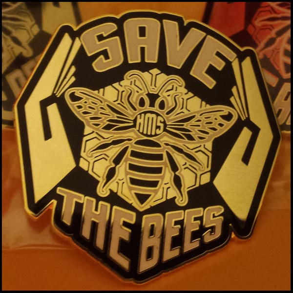 save the bees heart mind soul lapel pin